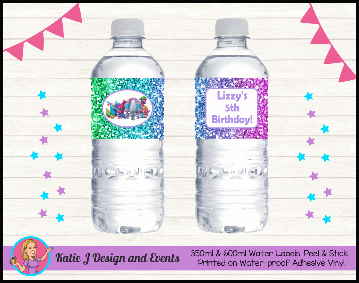 Personalised Rainbow Glitter Trolls Birthday Water Labels