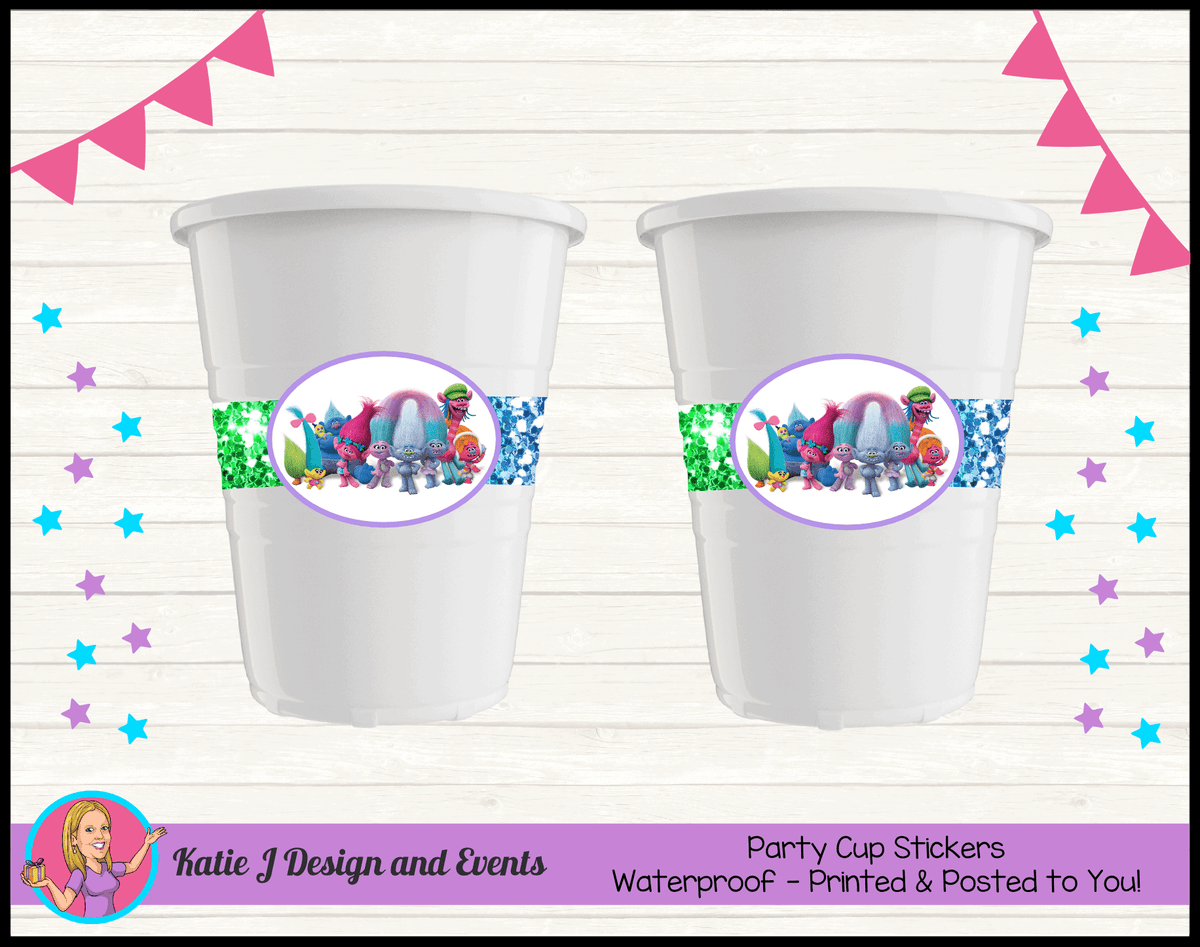 Personalised Rainbow Glitter Trolls Party Cups Cup Stickers