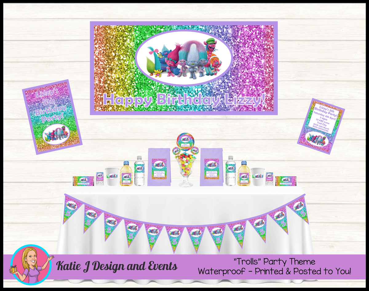 Personalised Rainbow Glitter Trolls Party Packs Decorations Supplies