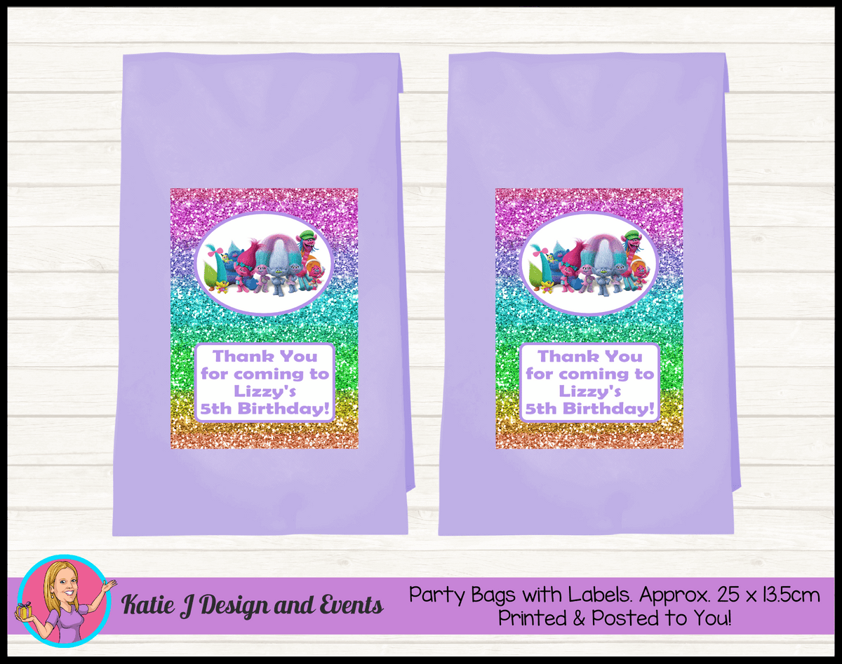 Personalised Rainbow Glitter Trolls Birthday Party Loot Bags