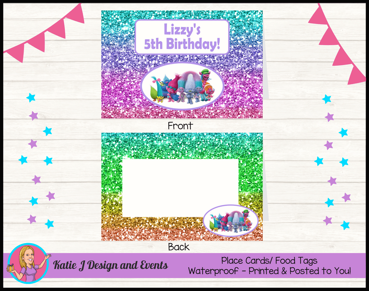 Personalised Rainbow Glitter Trolls Party Place Cards