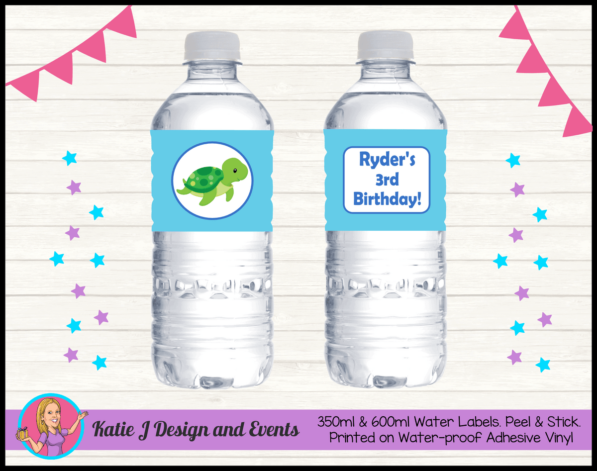 Blue Turtle Personalised Birthday Party Water Bottle Labels