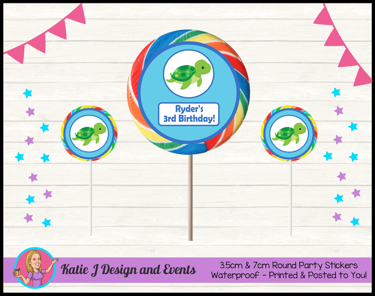 Blue Turtle Personalised Birthday Party Round Lollipop Stickers