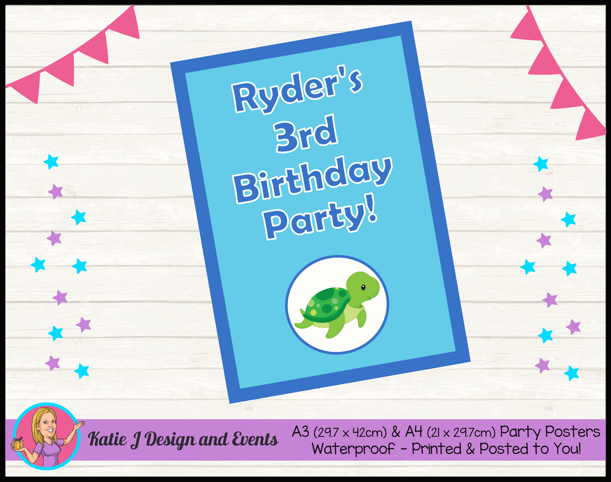 Blue Turtle Personalised Birthday Party Posters