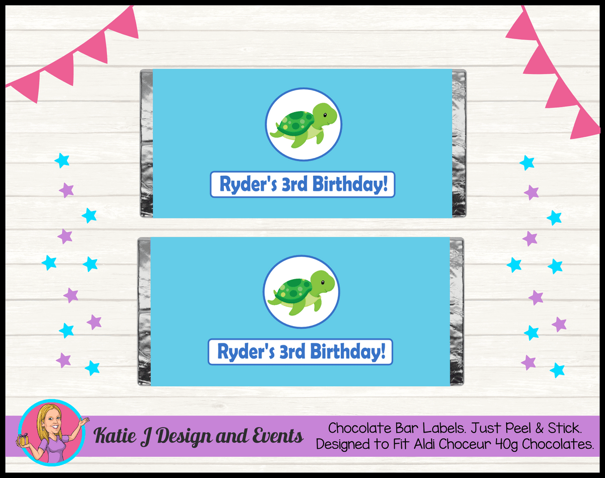 Blue Turtle Personalised Birthday Party Mini Aldi Chocolate Wrappers Labels