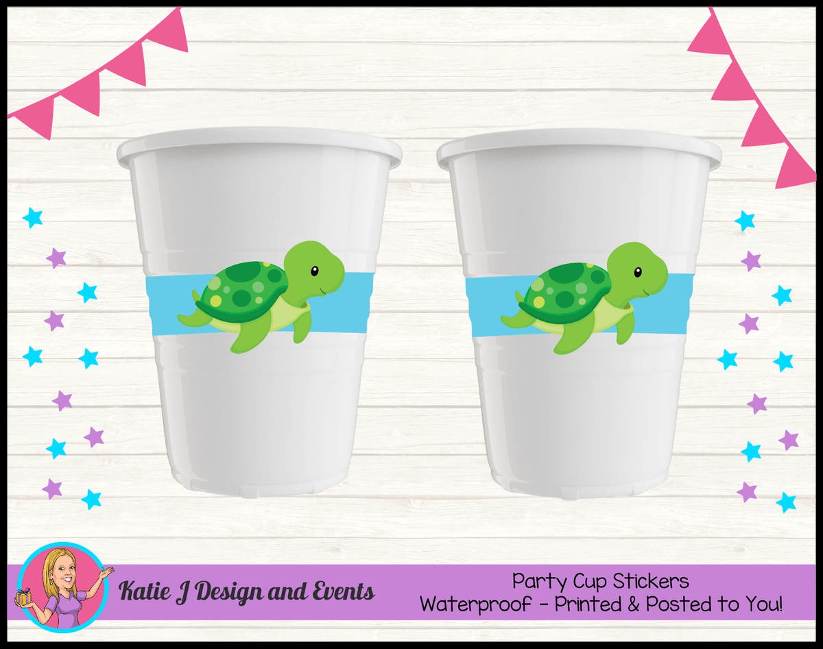 Blue Turtle Personalised Birthday Party Cup Stickers Cups