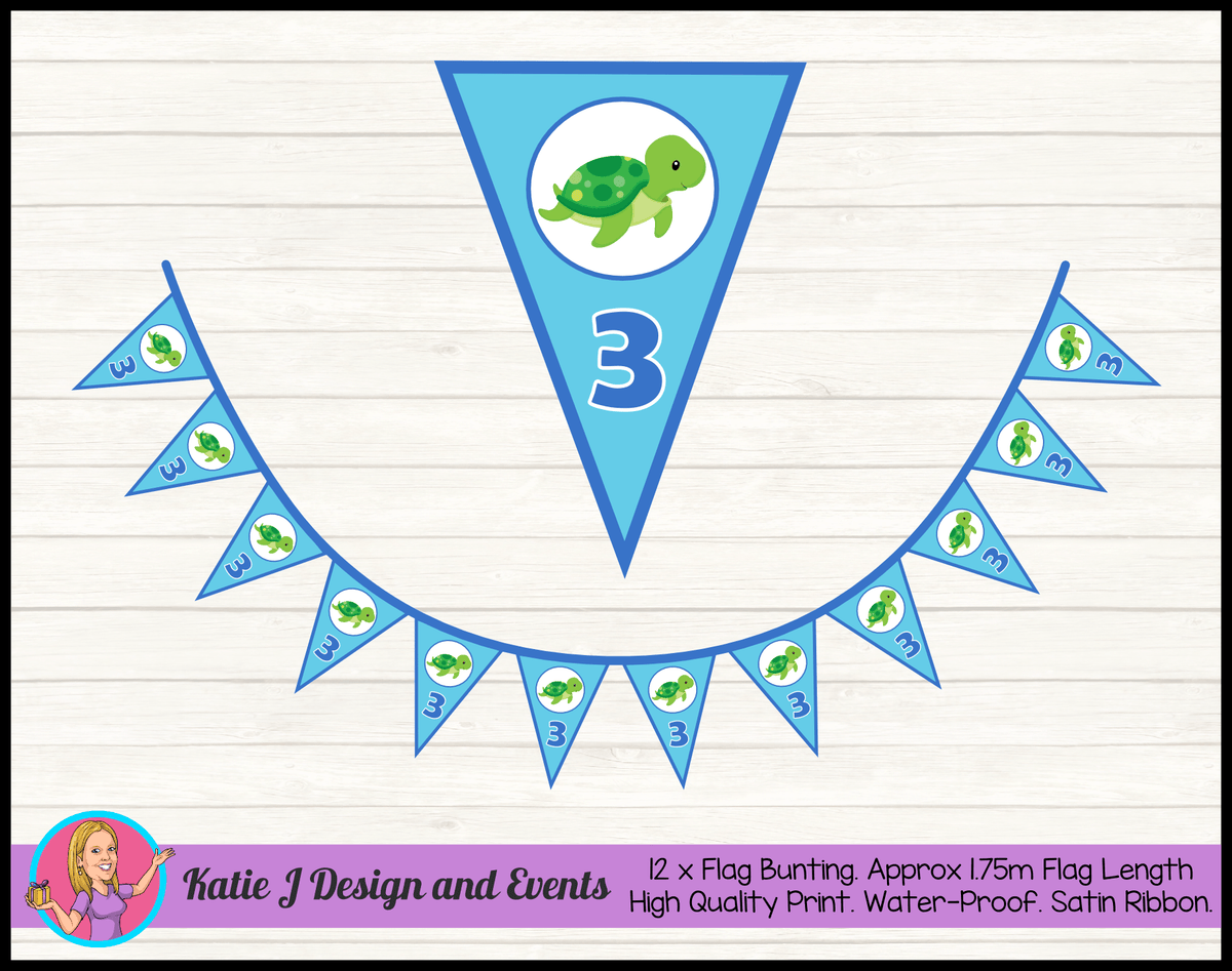 Blue Turtle Personalised Birthday Party Flag Bunting