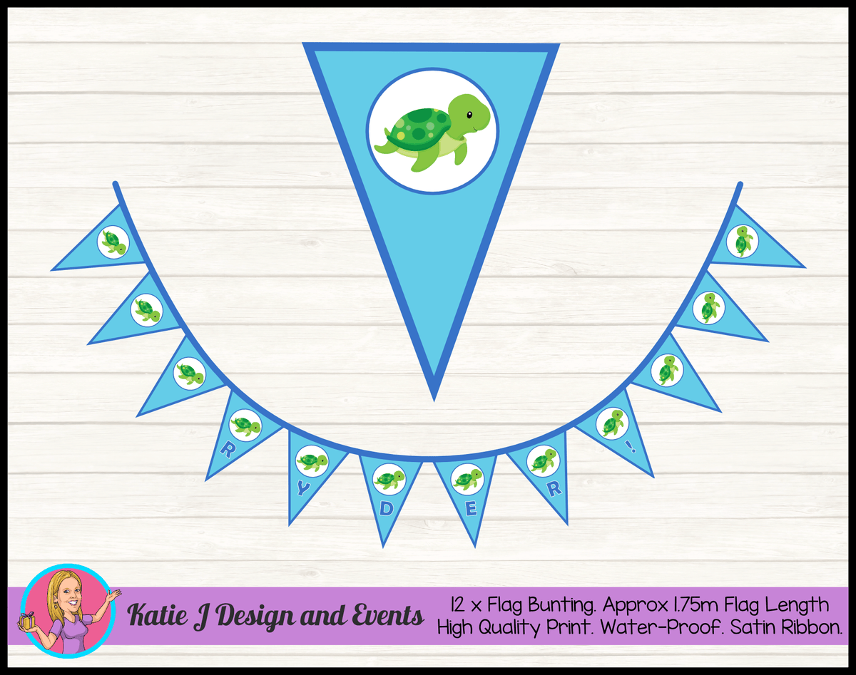Blue Turtle Personalised Birthday Party Flag Bunting Name