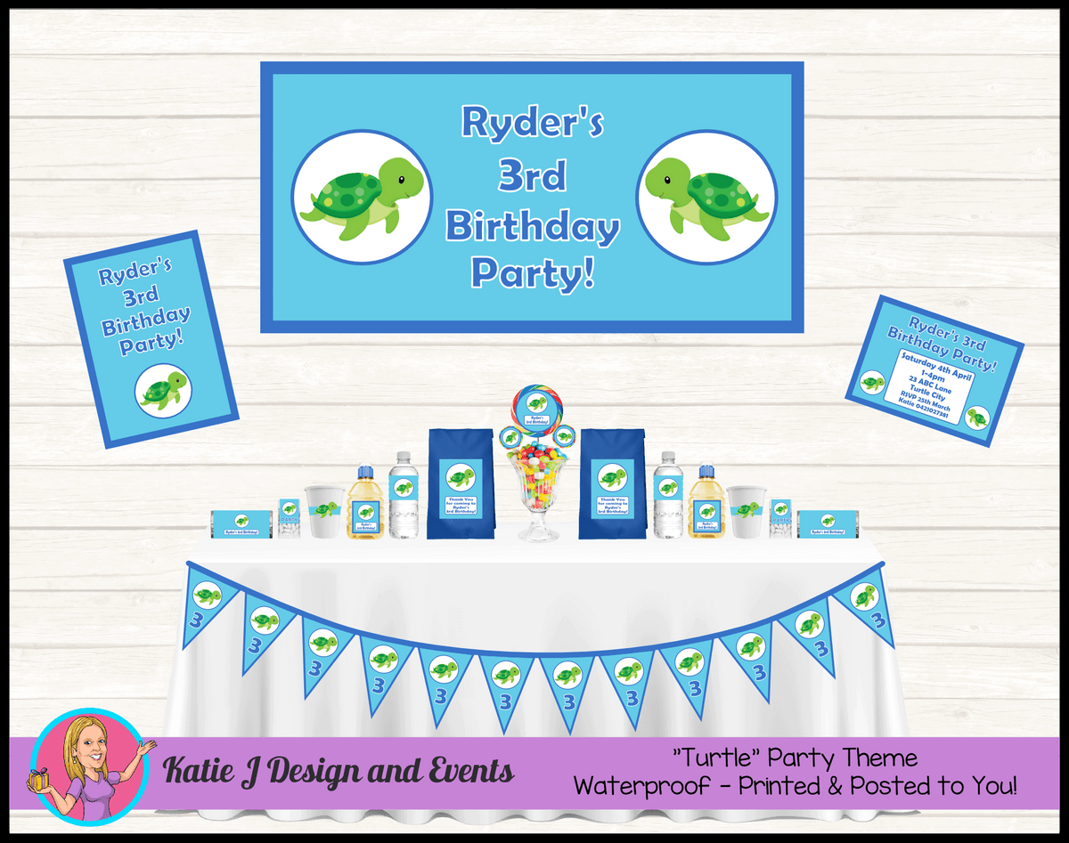 Personalised Blue Turtle Party Packs Decorations Supplies