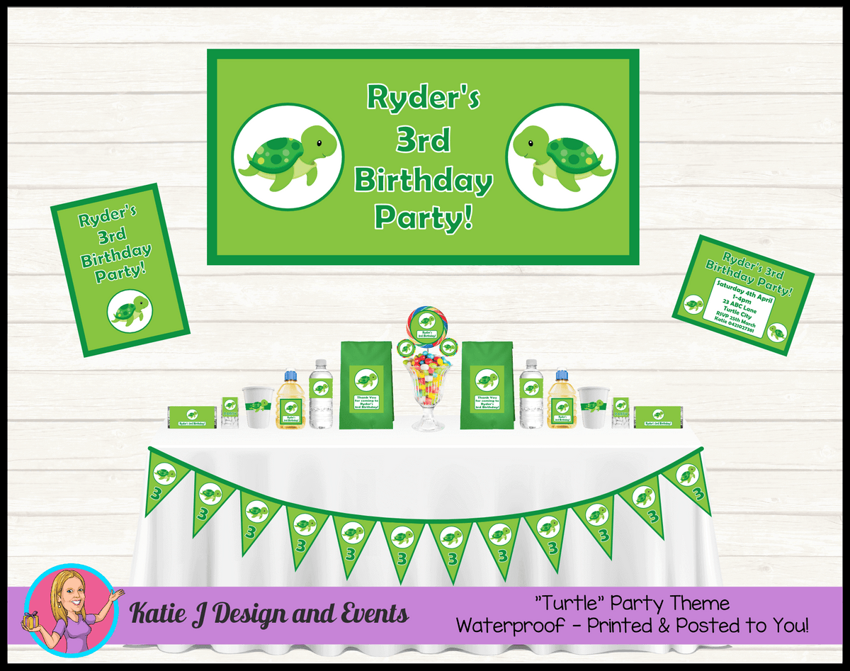 Personalised Green Turtle Party Packs Decorations Supplies