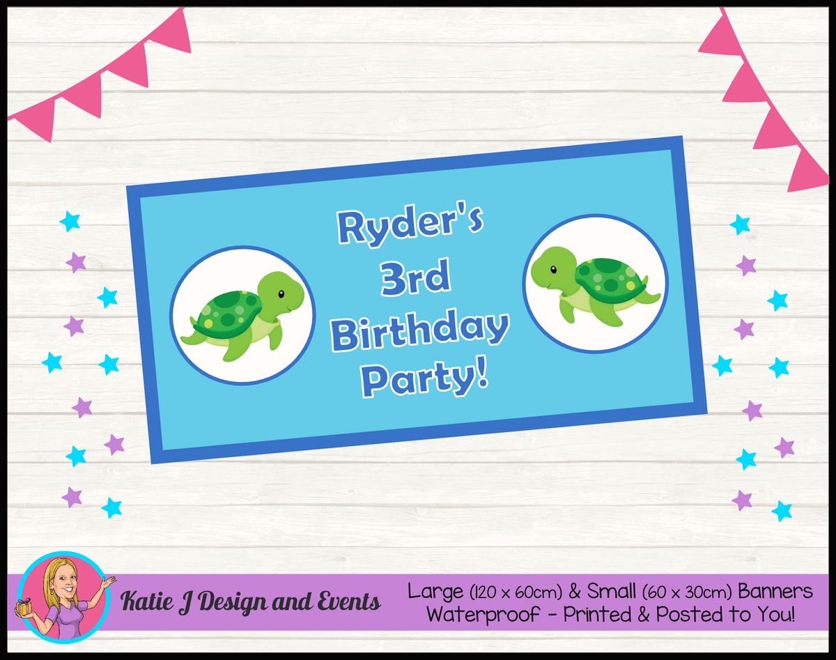 Blue Turtle Personalised Birthday Party Banners