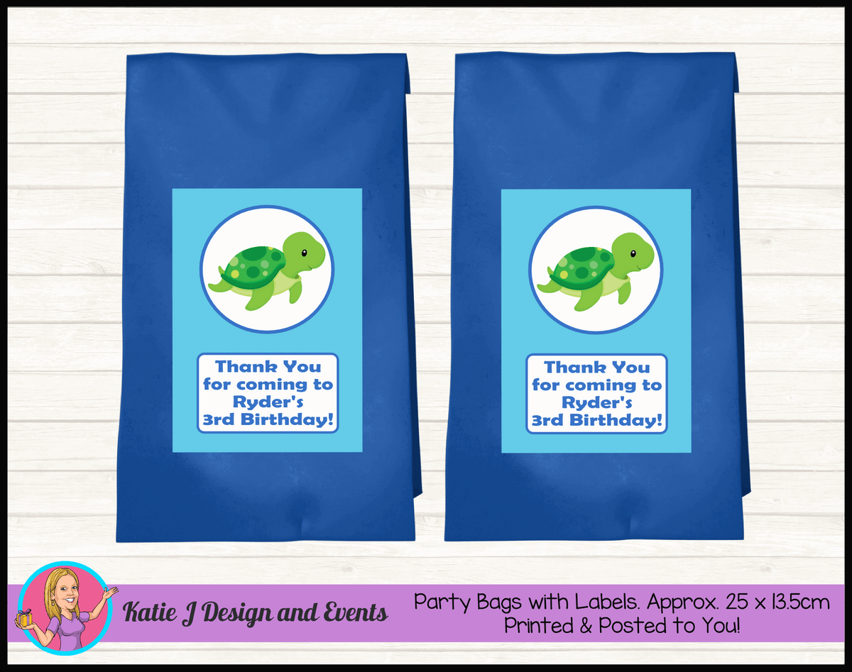 Blue Turtle Personalised Birthday Party Loot Bags