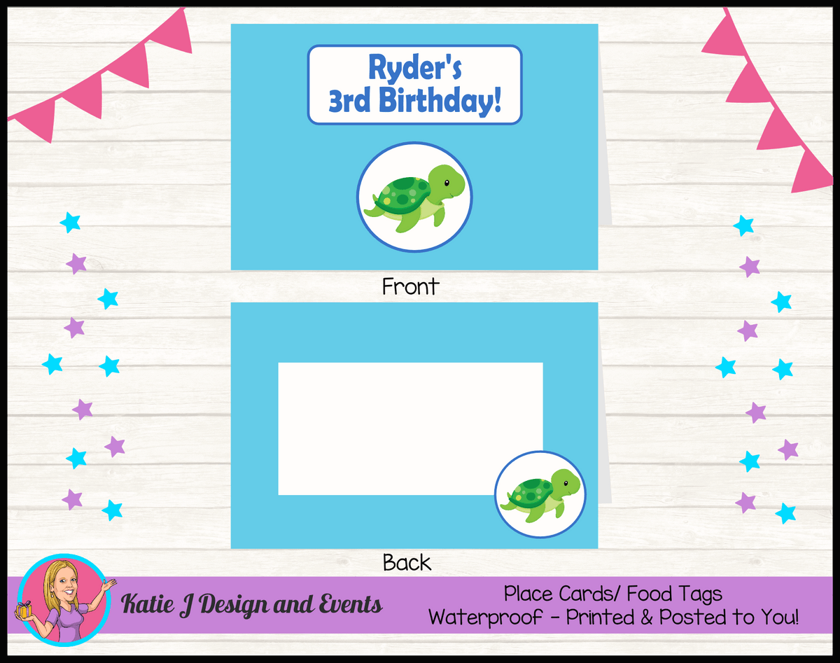 Blue Turtle Personalised Birthday Party Place Cards