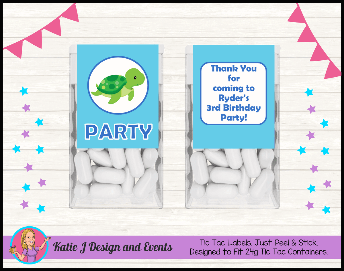Blue Turtle Personalised Birthday Party Tic Tac Mint Labels