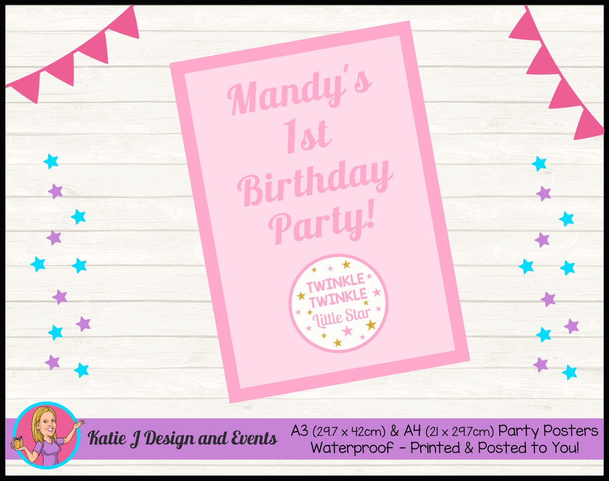 Personalised Girls Twinkle Twinkle Birthday Party Poster