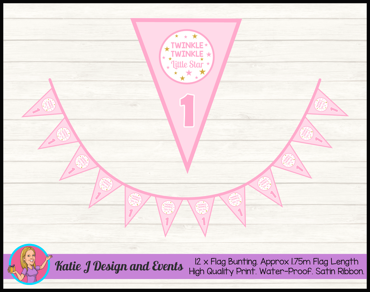 Personalised Girls Twinkle Twinkle Birthday Party Flag Bunting