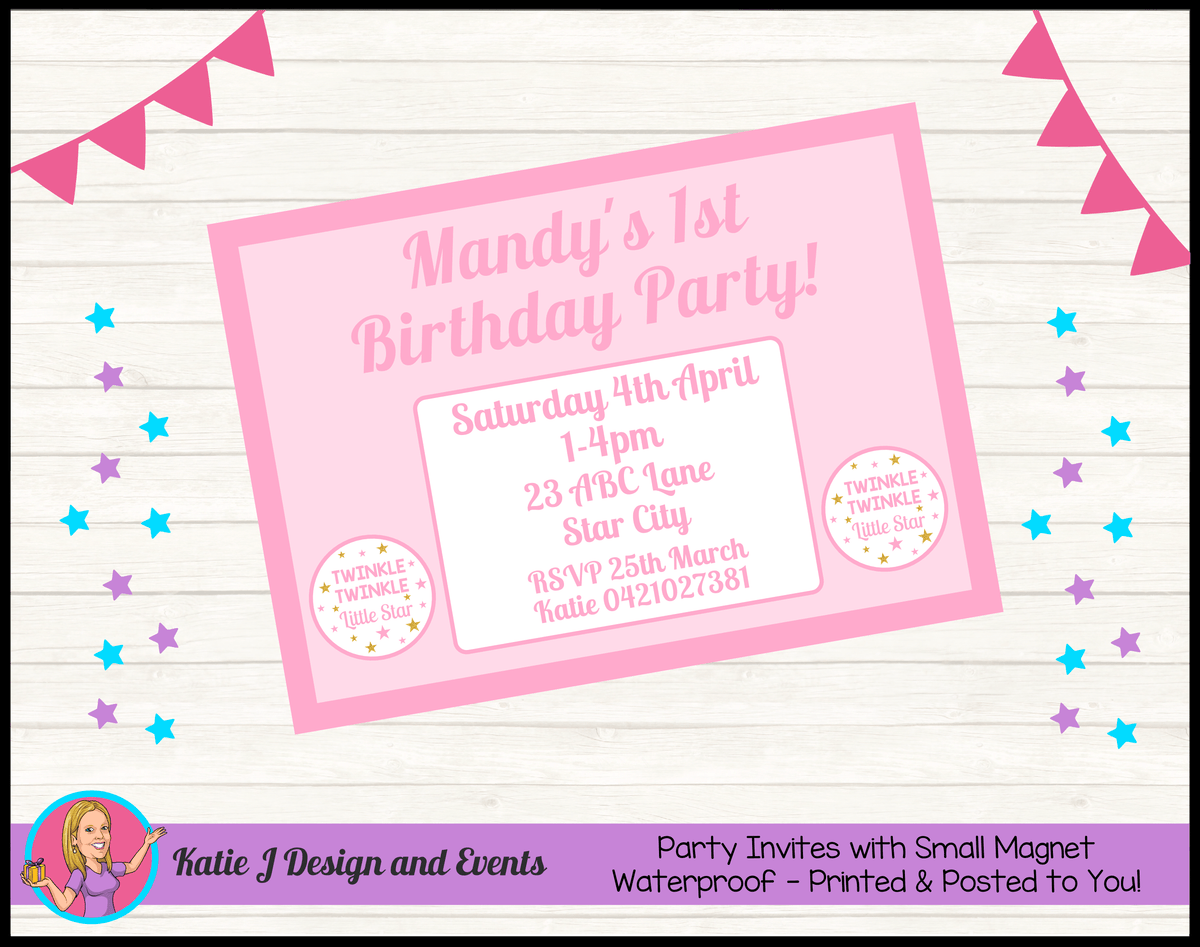 Personalised Girls Twinkle Twinkle Birthday Party Invites