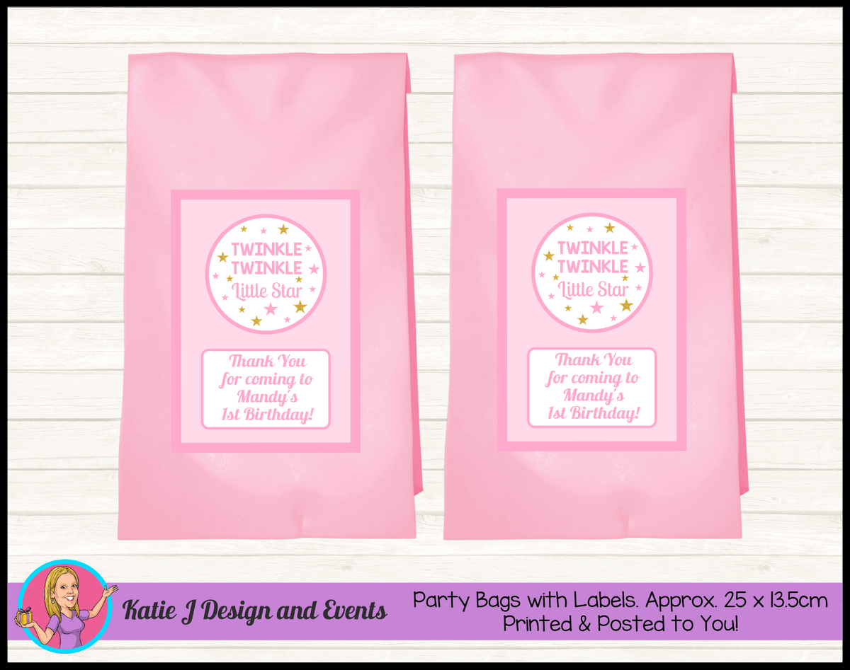 Personalised Girls Twinkle Twinkle Birthday Party Loot Bags