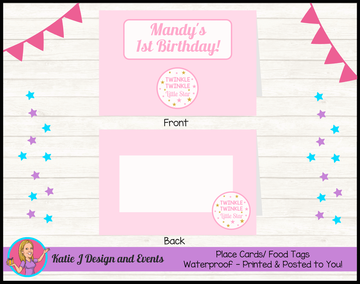 Personalised Girls Twinkle Twinkle Party Place Cards