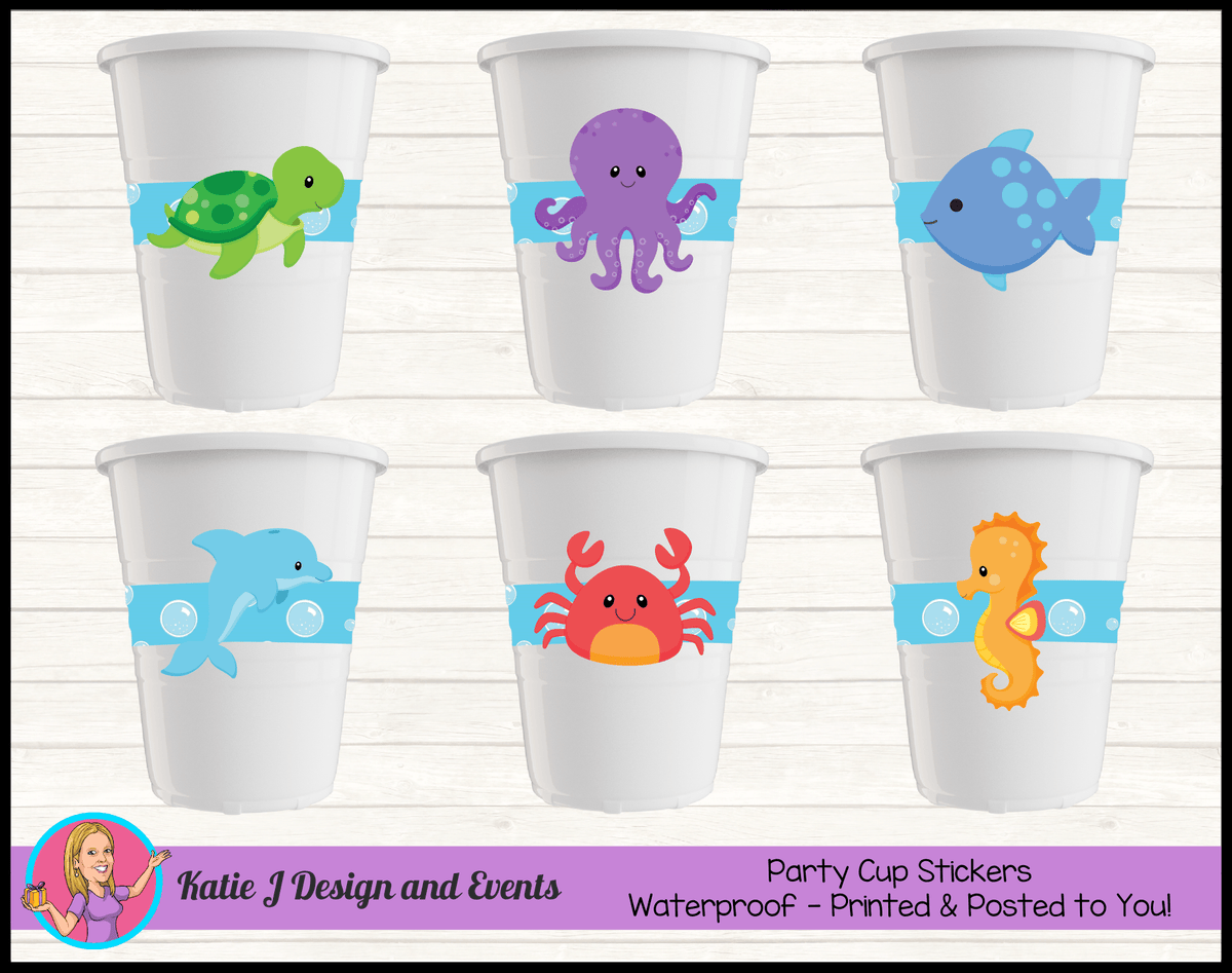 Personalised Under the Sea Party Cups Cup Stickers