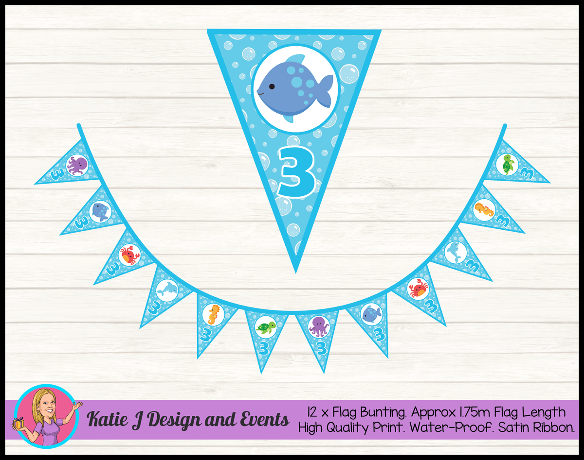 Personalised Under the Sea Birthday Party Flag Bunting
