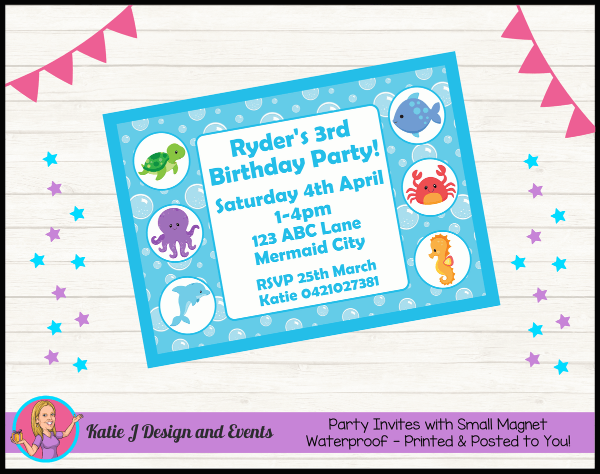 Personalised Under the Sea Birthday Party Invites
