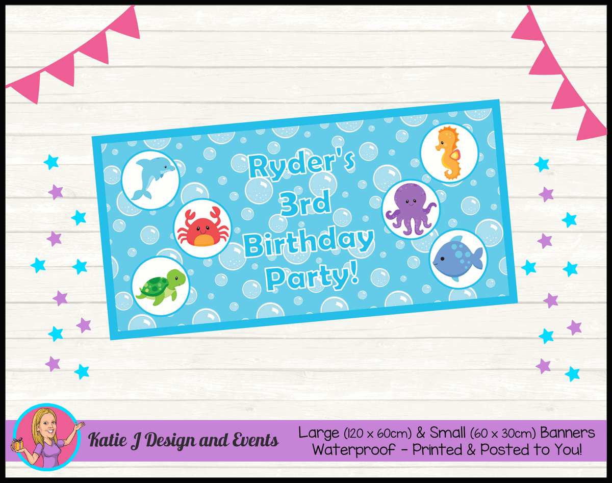 Personalised Under the Sea Birthday Party Banner