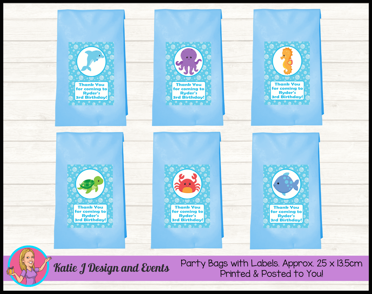 Personalised Under the Sea Birthday Party Loot Bags