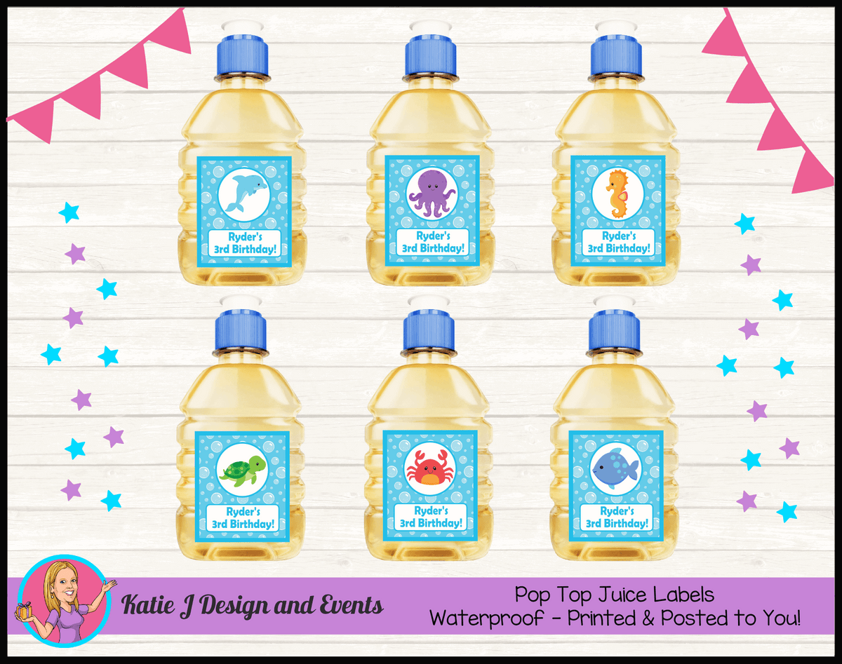 Personalised Under the Sea Pop Top Juice Labels