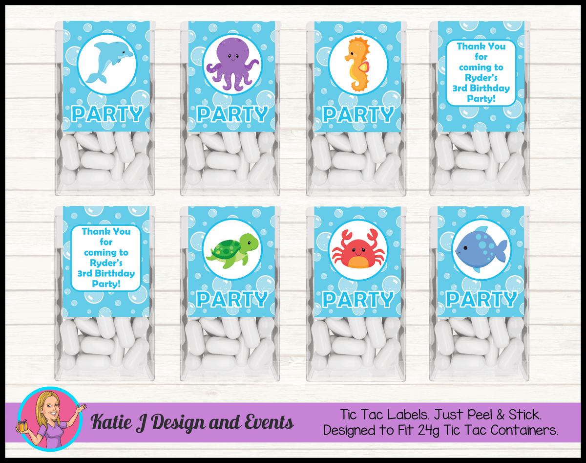 Personalised Under the Sea Tic Tac Mint Labels