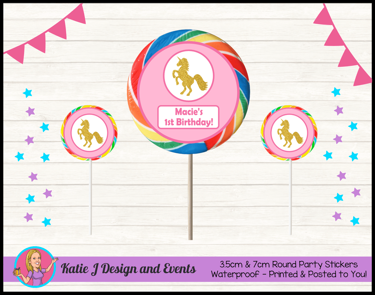 Pink & Gold Unicorn Personalised Birthday Party Round Lollipop Stickers