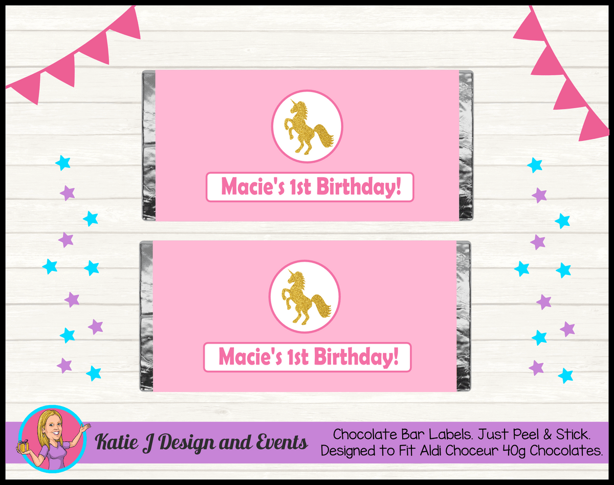 Pink & Gold Unicorn Personalised Birthday Party Aldi Mini Chocolate Wrappers Labels