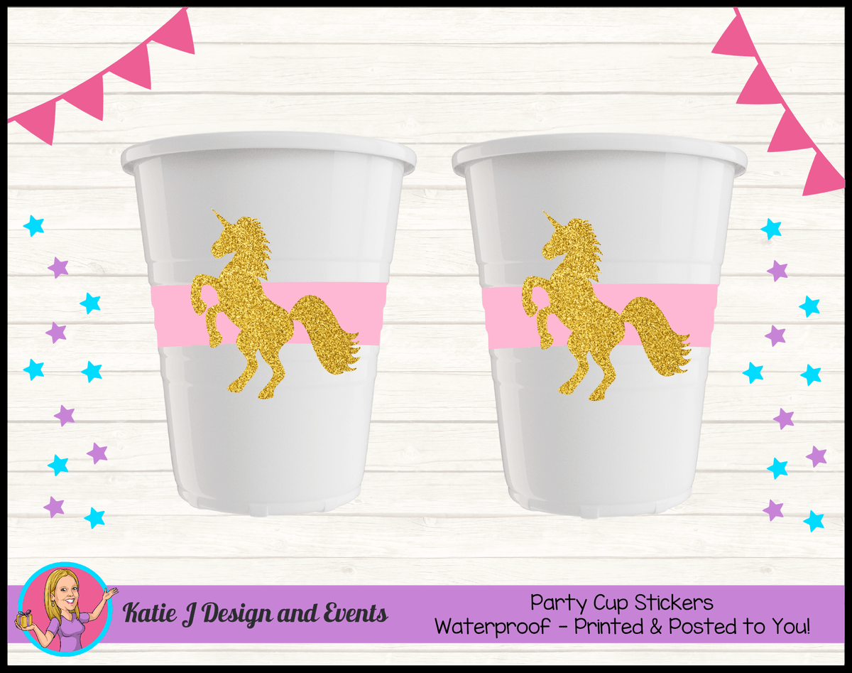 Pink & Gold Unicorn Personalised Birthday Party Cup Stickers Cups