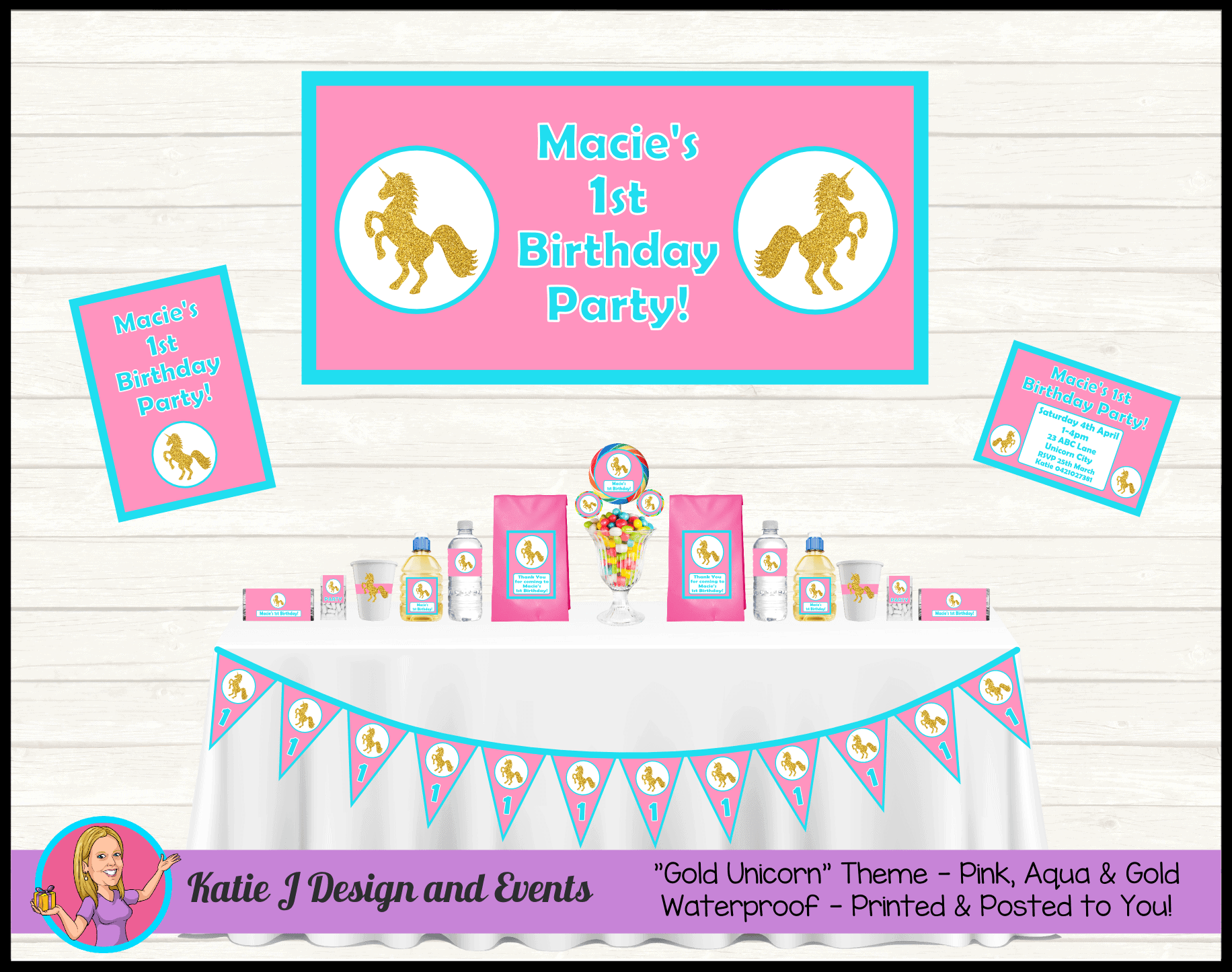 Pink & Gold Unicorn Personalised Party Packs Decorations Supplies Australia