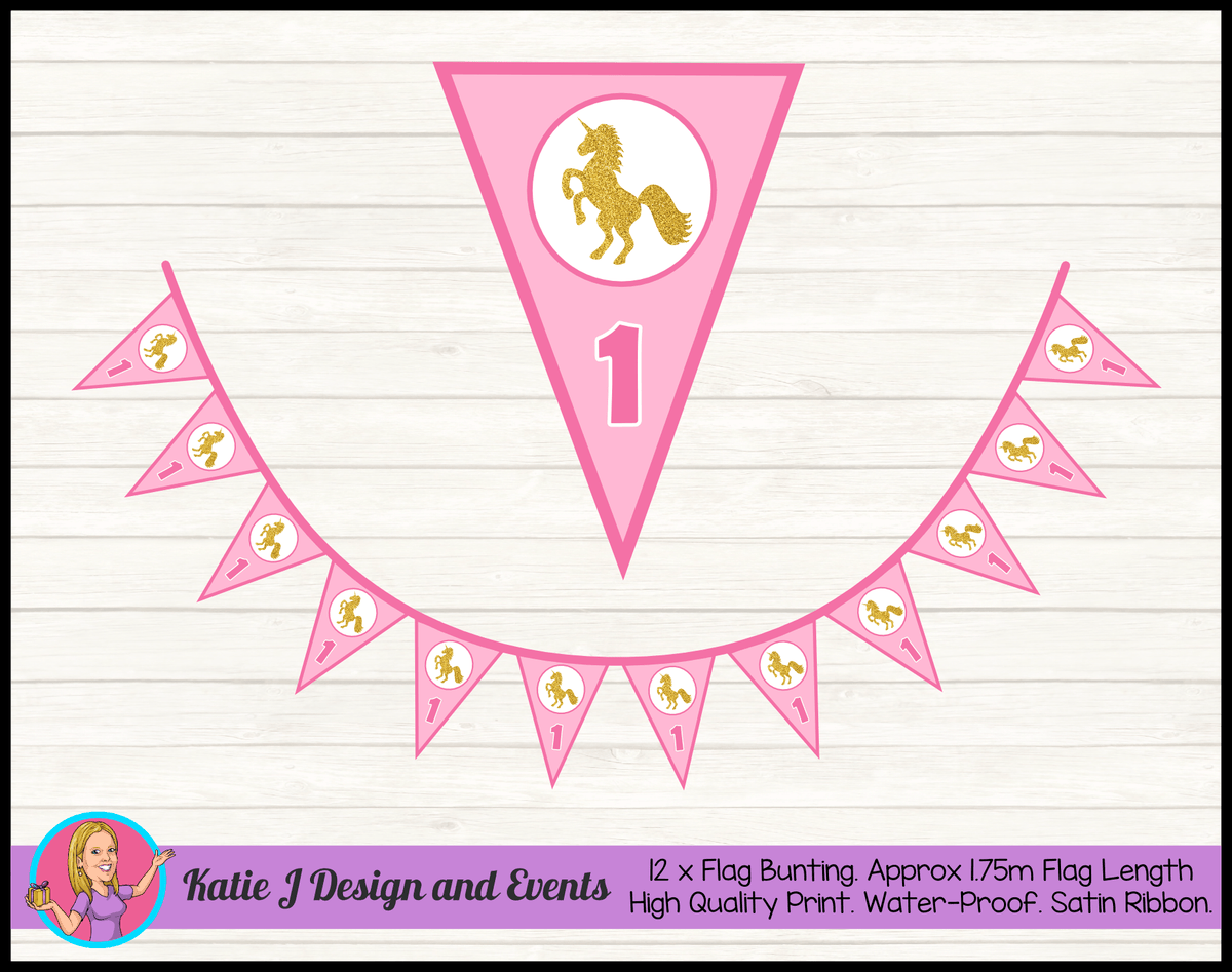 Pink & Gold Unicorn Personalised Birthday Party Flag Bunting
