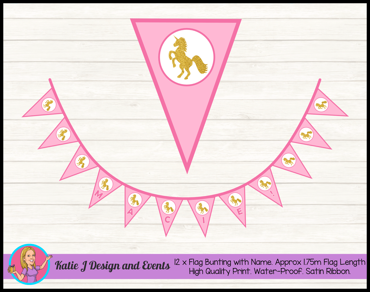 Pink & Gold Unicorn Personalised Birthday Party Flag Bunting Name