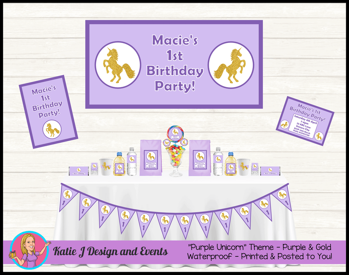 Purple & Gold Unicorn Personalised Party Packs Decorations Supplies Australia