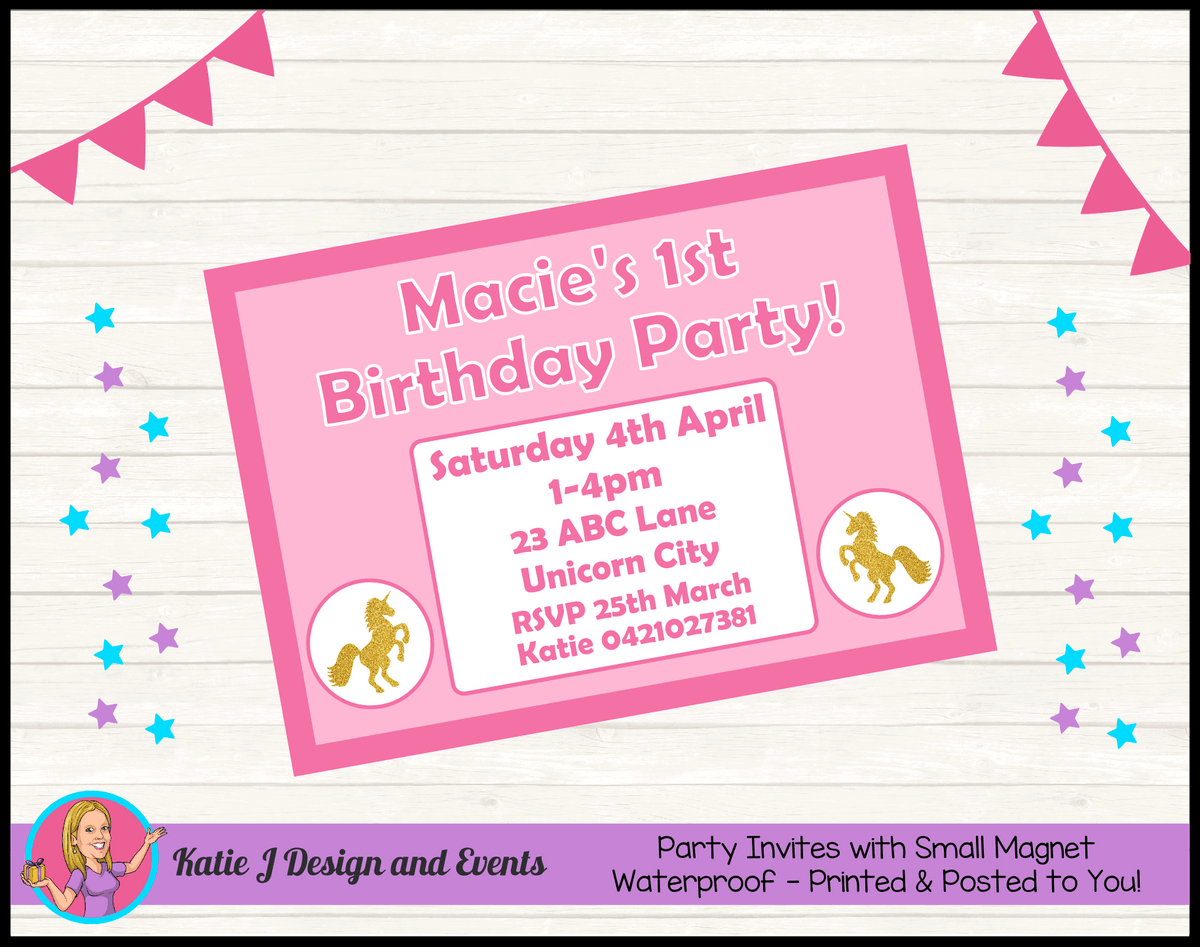 Pink & Gold Unicorn Personalised Birthday Party Invites Invitations