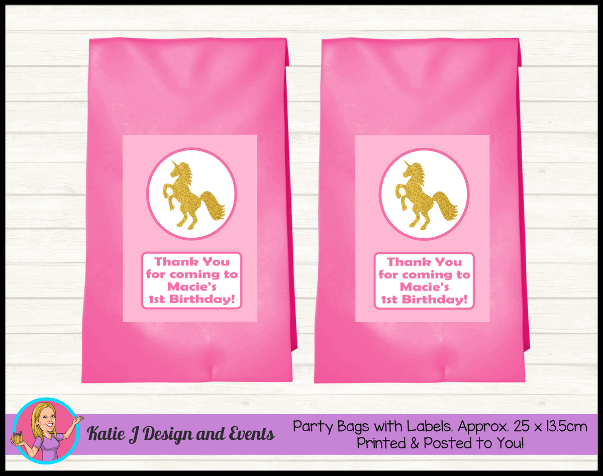 Pink & Gold Unicorn Personalised Birthday Party Loot Bags