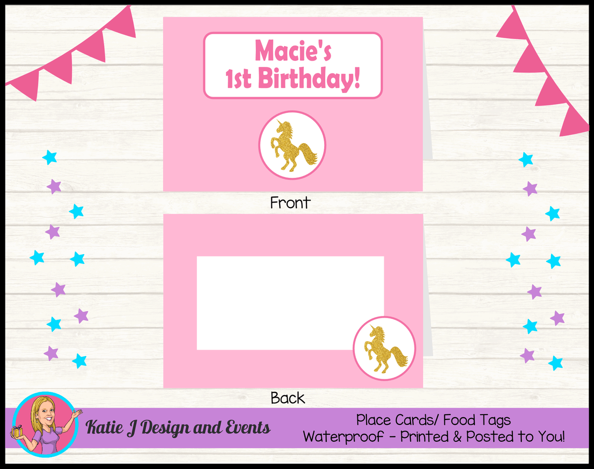 Pink & Gold Unicorn Personalised Birthday Party Place Cards