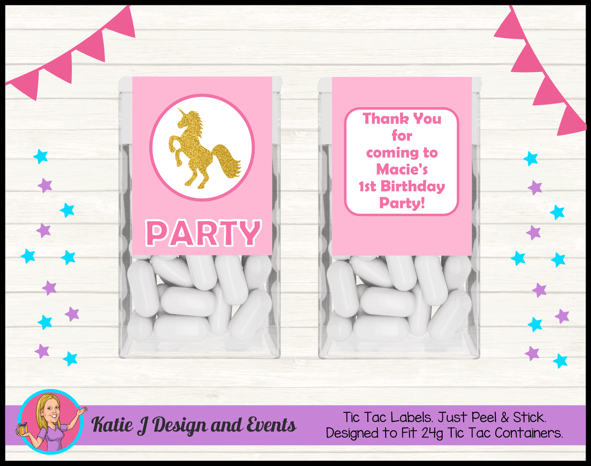 Pink & Gold Unicorn Personalised Birthday Party Tic Tac Mint Labels