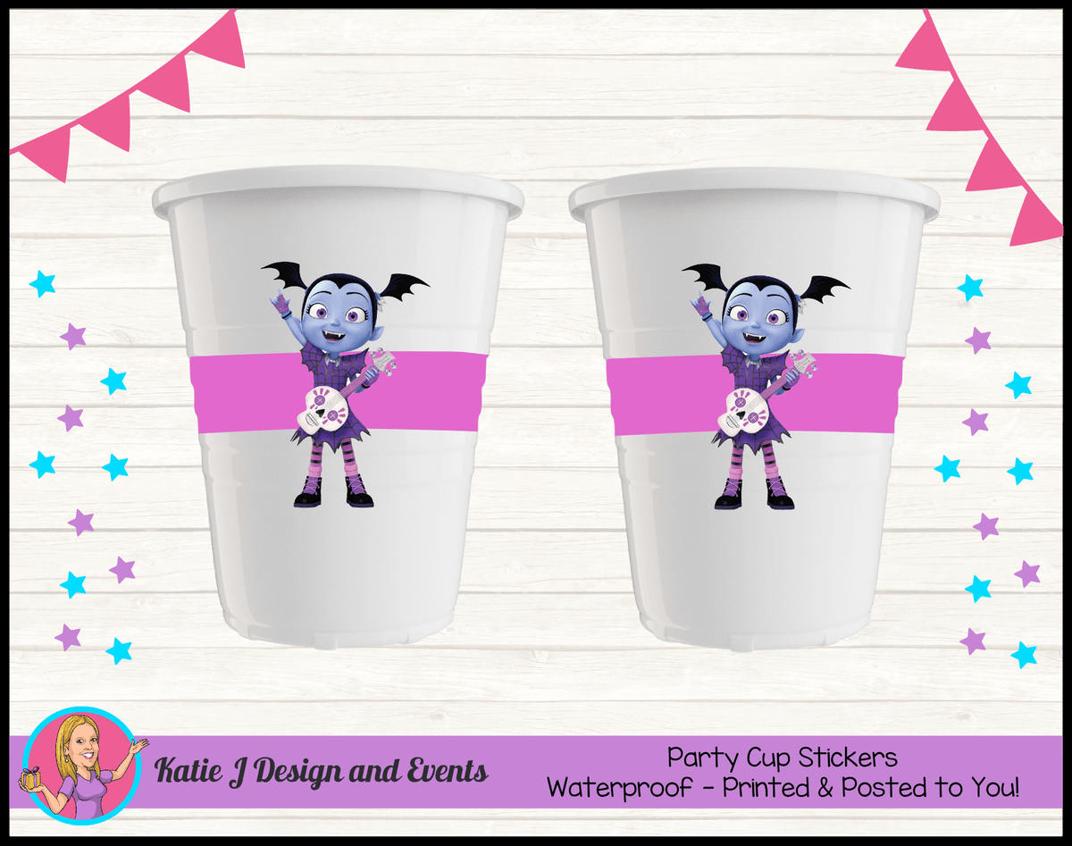 Personalised Vampirina Party Cups Cup Stickers