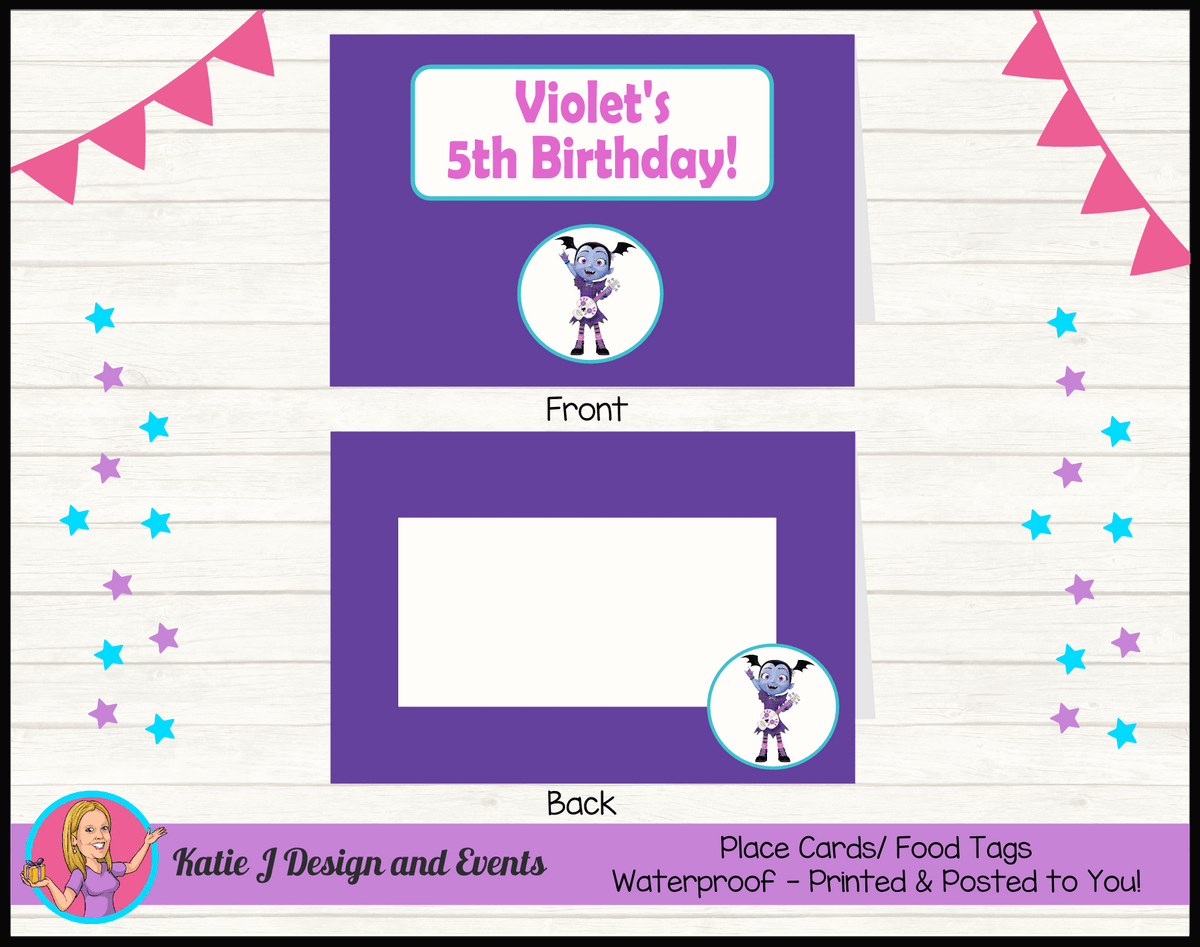 Personalised Vampirina Party Place Cards