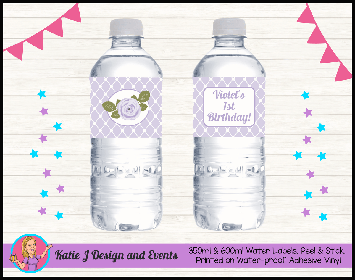 Personalised Purple Floral Birthday Water Labels