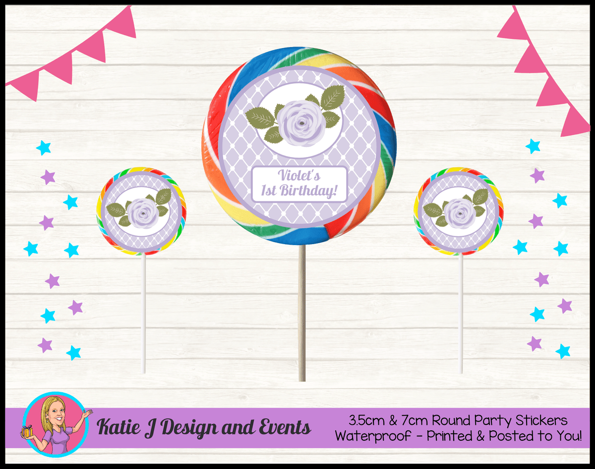 Personalised Purple Floral Round Lollipop Stickers