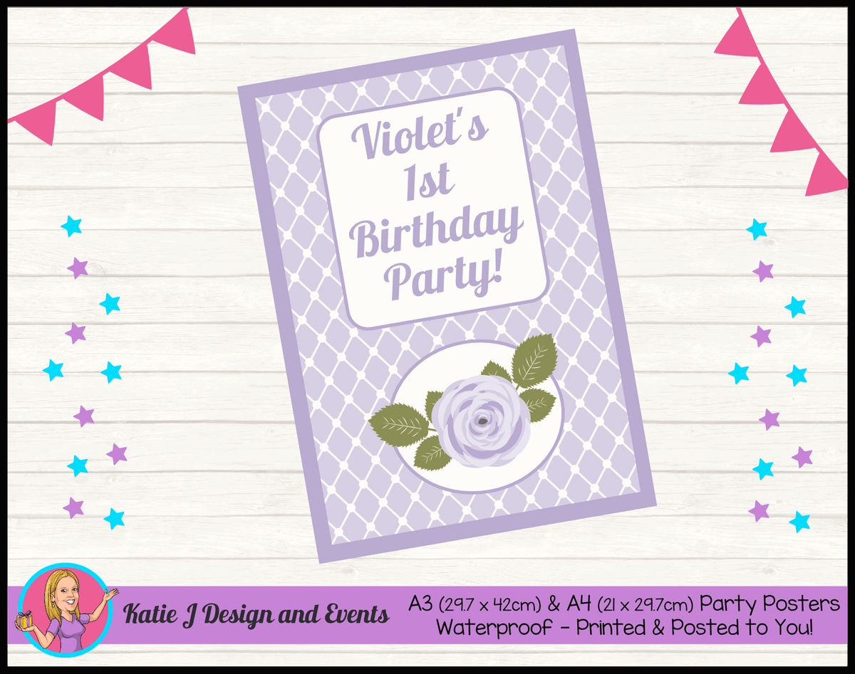 Personalised Purple Floral Birthday Party Poster