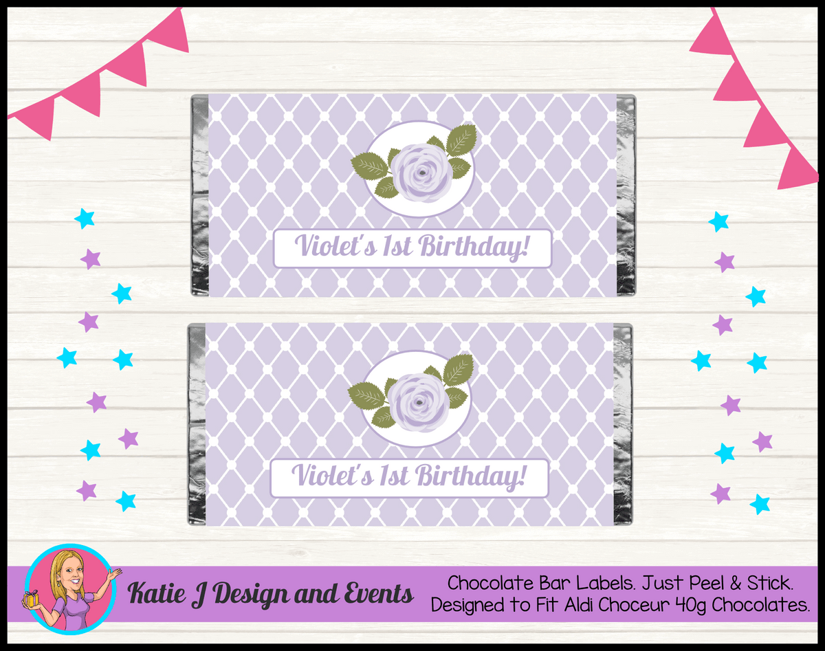 Personalised Purple Floral Birthday Chocolate Labels
