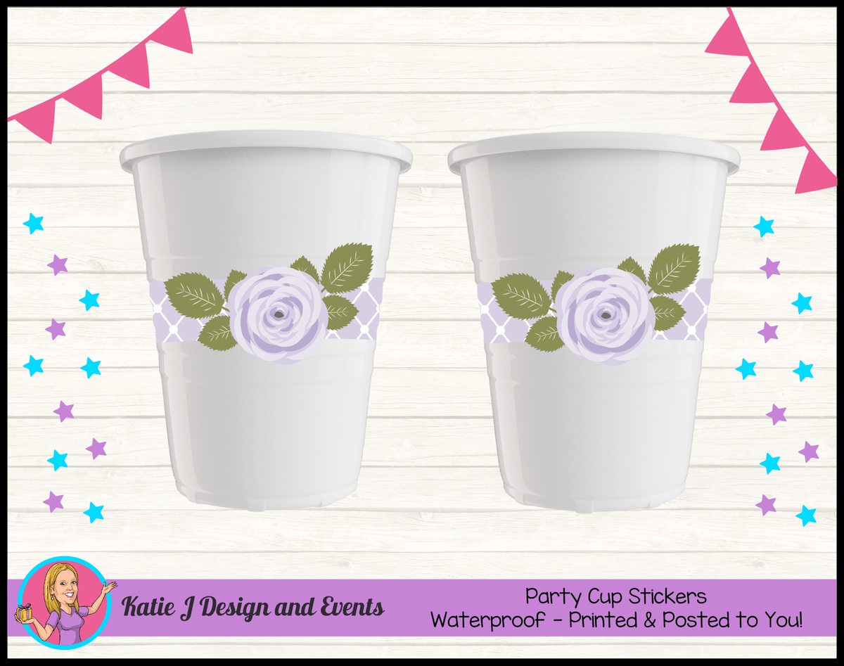 Personalised Purple Floral Party Cups Cup Stickers