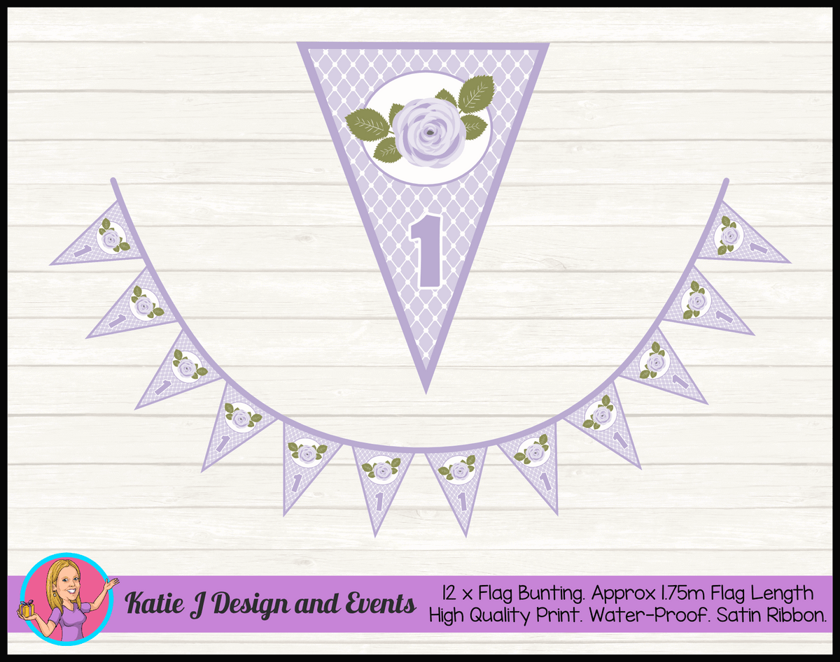 Personalised Purple Floral Birthday Party Flag Bunting