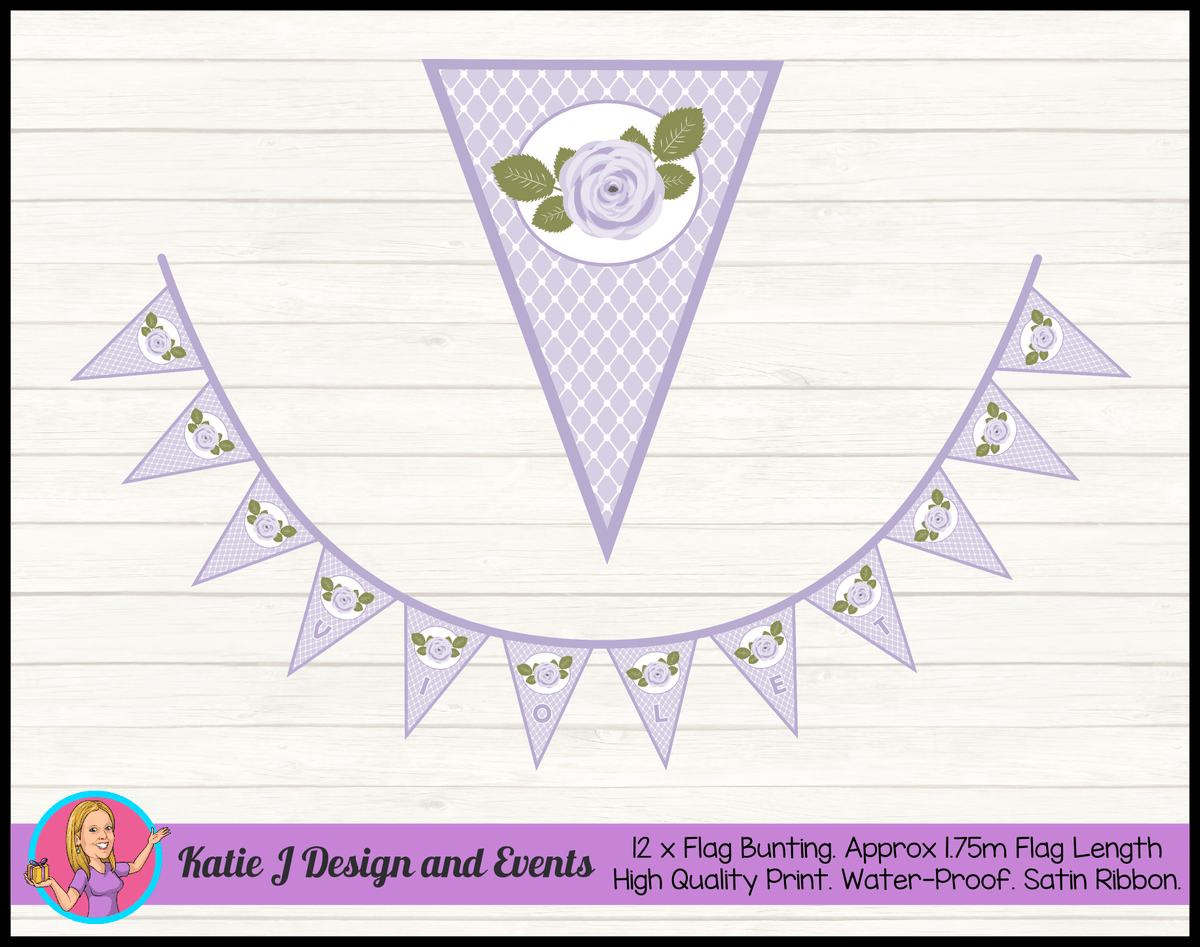 Personalised Violet Rose Birthday Party Decorations